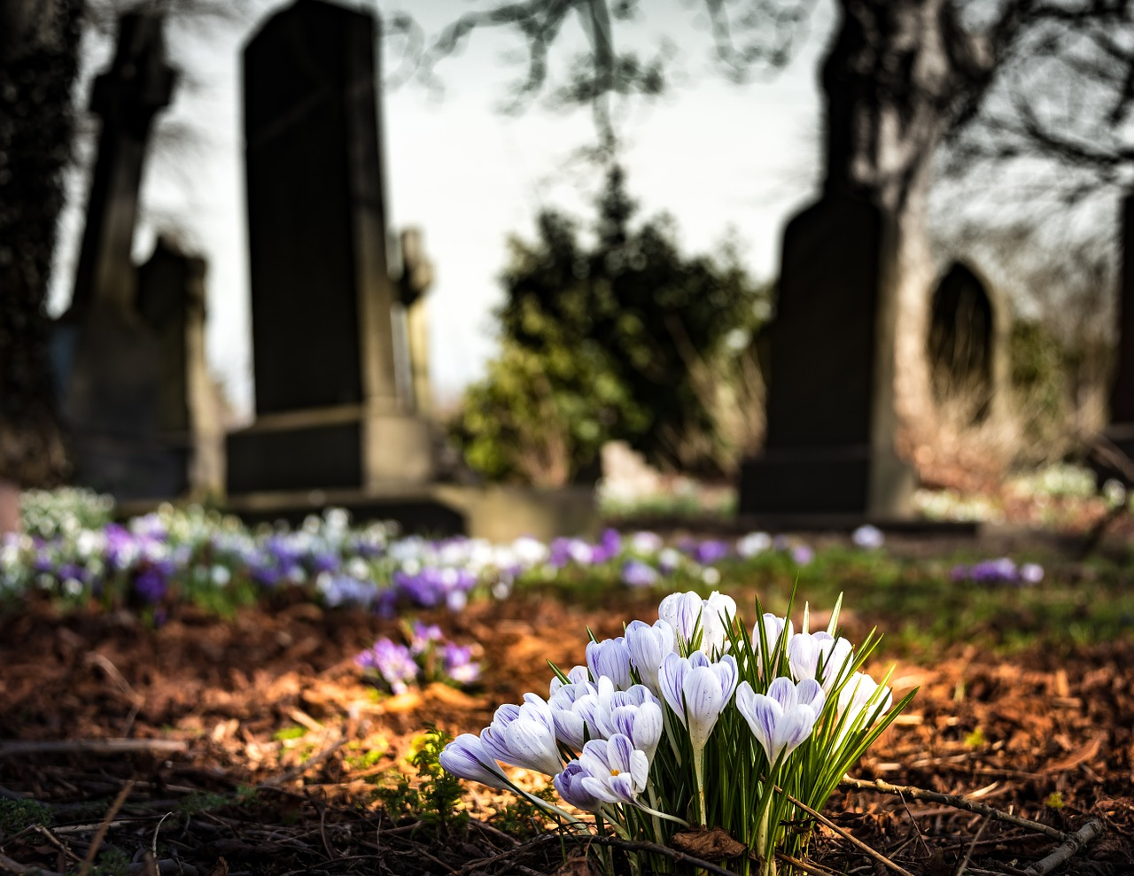 image of a gravestone with flowers